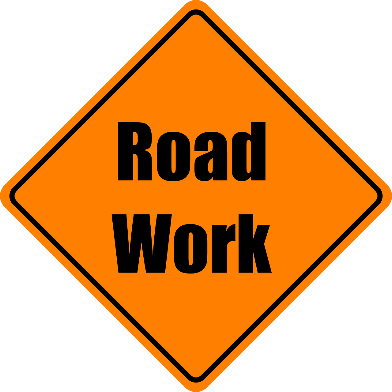 Orange diamond shaped road work sign