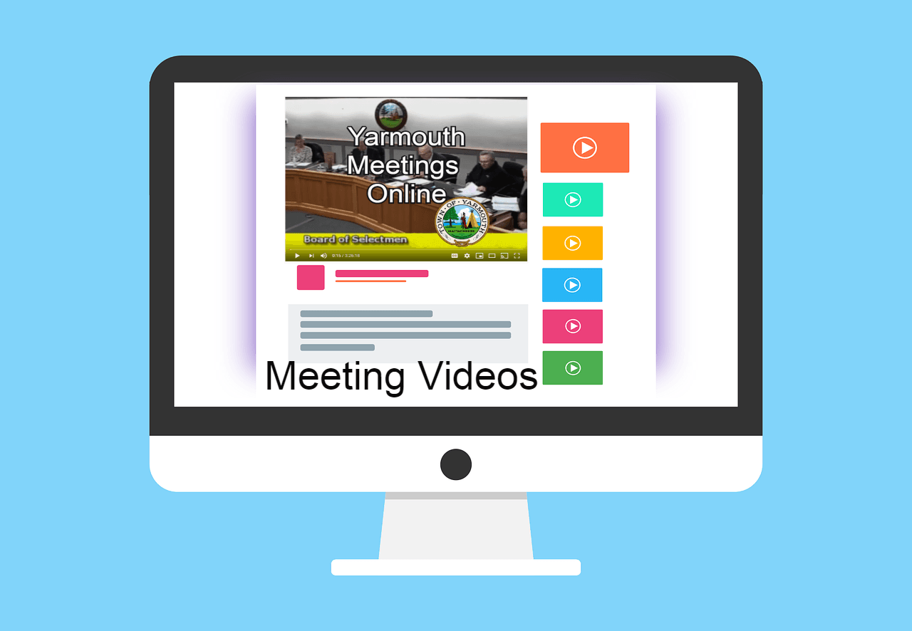 Computer Icon with Meeting Videos Text and youtube like layout