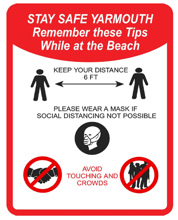 Social distancing measures sign with person wearing mask